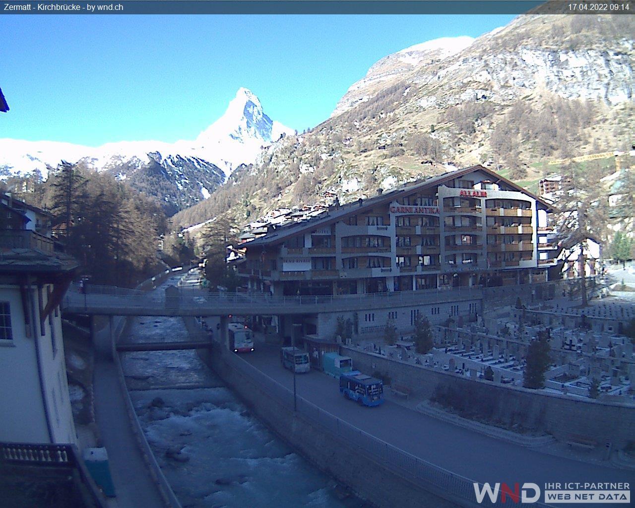 Webcam Zermatt, Kirchbrücke - Alt. 1608 m